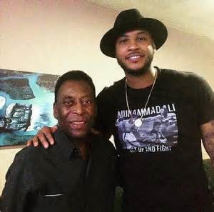 Carmelo Anthony with Pele during Cosmos trip to Cuba