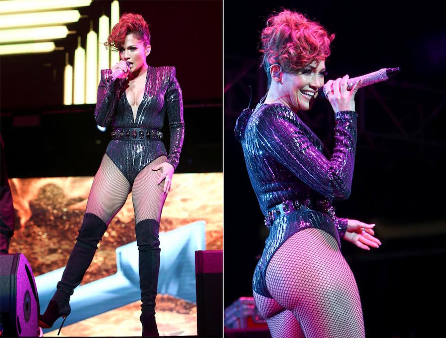 Jennifer Lopez put her famous curves on display in a plunging bodysuit as she commanded the stage during the Mega 97.9 Megaton Concert at Madison Square Garden on Oct. 28, 2015 in New York City. The 46-year-old stunner wore a sparkly ensemble with fishnet tights and knee-high boots as she performed for the screaming crowd.